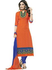 Florence Chanderi Cotton Embroidered Dress Material - Orange - SB-1719