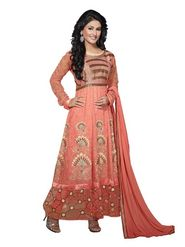 Florence Georgette  Embroidered Dress Material - Orange - SB-1733