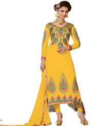 Florence Georgette  Embroidered Dress Material - Yellow - SB-1797