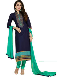 Florence Cotton Embroidered Dress Material - Blue - SB-2773