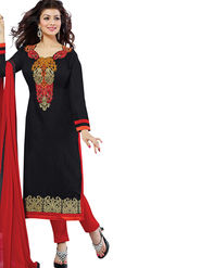 Florence Cotton Embroidered Dress Material - Black - SB-2809