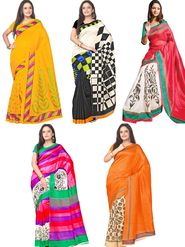 Pack of 5 Florence Printed Bhagalpuri Silk Saree - feb_7