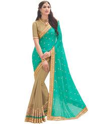 Indian Women Embroidered Satin Chiffon & Georgette Saree -Ga20226