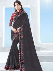 Indian Women Emboridered Georgette Black Designer Saree -Ga20504