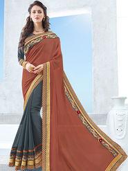 Indian Women Emboridered Chinon & Georgette Rust Orange & Grey Designer Saree -Ga20505