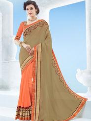 Indian Women Emboridered Chiffon & Georgette Beige & Orange Designer Saree -Ga20508