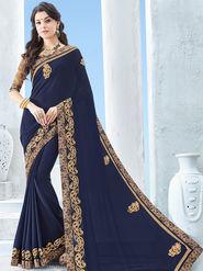 Indian Women Emboridered Chinon Violet Designer Saree -Ga20509