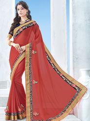 Indian Women Emboridered Chinon Red Designer Saree -Ga20511