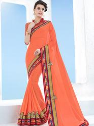 Indian Women Emboridered Kesnika Chiffon Orange Designer Saree -Ga20518