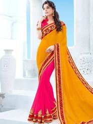 Indian Women Emboridered Chinon & Georgette Orange & Pink Designer Saree -Ga20520