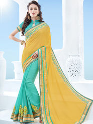 Indian Women Emboridered Chinon & Georgette Yellow & Cyan Designer Saree -Ga20523