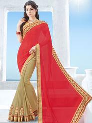 Indian Women Emboridered Chiffon & Georgette Red & Beige Designer Saree -Ga20529