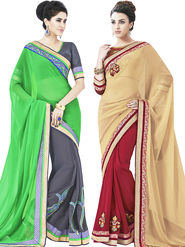 Pack of 2 Indian Women Embroidered Chiffon & Jacquard Designer saree -oct10