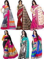 Pack of 6 Shonaya Printed Bhagalpuri Art Silk Saree-san01