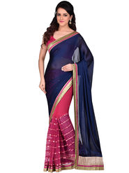 Shonaya Golden Border Mirror Work Net& Georgette Sarees -Hivl3-63026