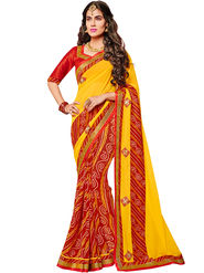Indian Women Bandhani Georgette Saree -Ic11217
