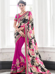 Indian Women Embroidered Satin & Georgette Multicolor & Magenta Designer Saree -IC11340