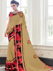 Indian Women Embroidered Georgette Beige Designer Saree -IC11342