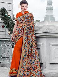 Indian Women Printed Silk & Georgette Multicolor & Orange Designer Saree -IC11343