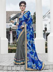 Indian Women Printed Georgette Blue & Grey Designer Saree -IC11345