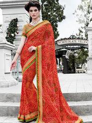 Indian Women Bandhani Print Georgette Red Designer Saree -IC11346