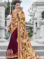 Indian Women Embroidered Satin & Georgette Multicolor Designer Saree -IC11347