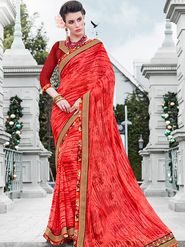 Indian Women Printed Georgette Orange Designer Saree -IC11348