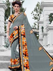 Indian Women Embroidered Georgette Grey Designer Saree -IC11351