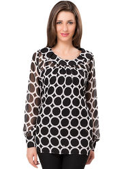 Ishin Georgette Printed Top - Black_INDWT-5011