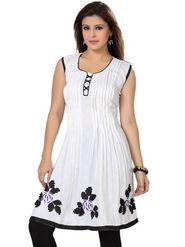 Ishin Poly Cotton Printed Kurti - White_ADNK-269