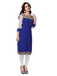 Ishin Embroidered Georgette Kurti - Blue_ASHR-Kaajjali