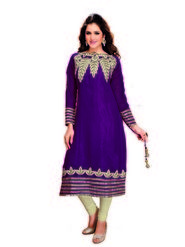 Ishin Faux Georgette Embroidered Kurti - Purple-ASHR-Naamita