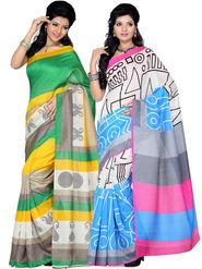 Pack of 2 Ishin Bhagalpuri Silk Printed Saree - Combo-417