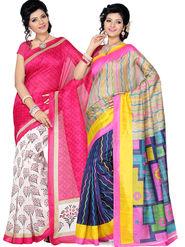 Pack of 2 Ishin Bhagalpuri Silk Printed Saree - Combo-418