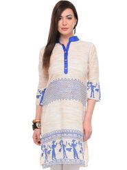 Lavennder Khadi Printed Kurti - Cream - LK-62143