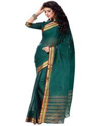 Ishin Cotton Plain Saree - Green - MFCS-Anika