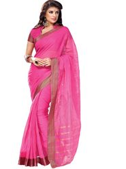 Ishin Cotton Plain Saree - Pink - MFCS-Khushbu-1