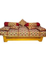 JBG Geometrical Block 8Pcs Diwan Set - Beige & Maroon