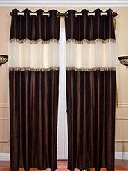 Set of 2 JBG Beautiful Tissue lace Design Door Curtains - Brown & White- JBG372