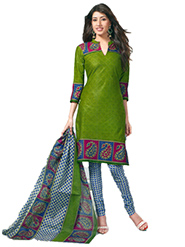 Javuli Printed Cotton Dress Material - Green & Blue