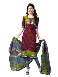 Javuli Printed Cotton Dress Material - Maroon & Green