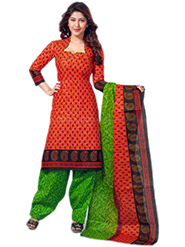 Javuli Printed Cotton Dress Material - Red & Green