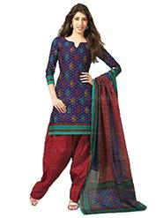 Javuli Printed Cotton Dress Material - Blue & Red - 12404878
