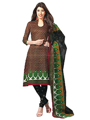 Javuli Printed Cotton Dress Material - Brown & Black