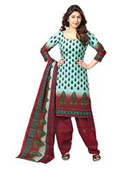 Javuli Printed Cotton Dress Material - Aqua & Maroon