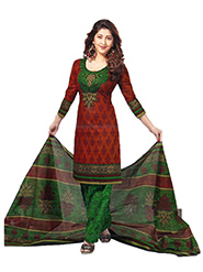 Javuli Printed Cotton Dress Material - Maroon & Green