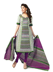 Javuli Printed Cotton Dress Material - Purple & Light Green