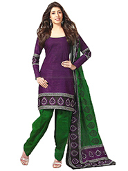 Javuli Printed Cotton Dress Material - Purple & Green - 12404894