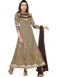 Javuli Georgette Embroidered  Dress Material - Brown - eliza-36005