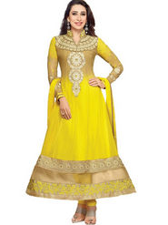 Javuli Georgette Embroidered  Dress Material - Yellow - eliza-36008